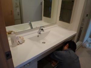 施工中洗面化粧台