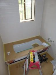 ラウンド浴槽施工