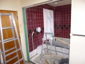 浴室木枠ドア撤去