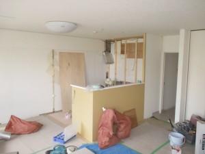 キッチン施工中 間仕切り壁造作