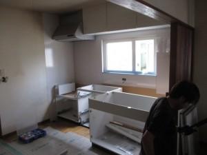 キッチンパネル施工2