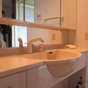 洗面化粧台帯鏡部分、劣化・腐食による交換工事の実例!札幌市