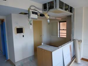 キッチン背面壁造作