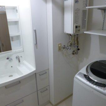 クリナップ洗面『ファンシオ』にオーダー製作収納を組合せた施工事例!札幌市