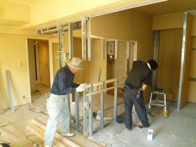 施工中間仕切り壁2