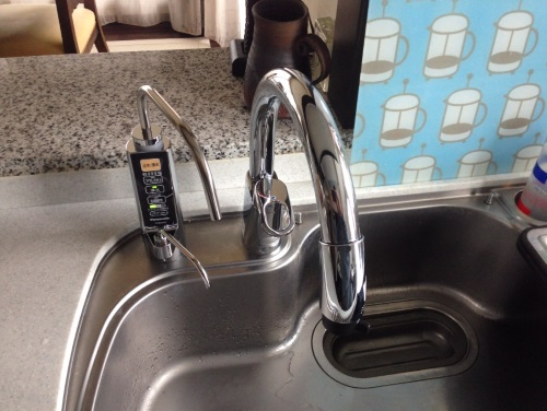 シングルレバーのシャワー水栓+ビルトインアルカリイオン整水器