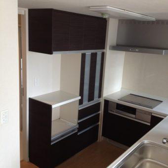 L型システムキッチン セットの収納で統一された空間へ 札幌市