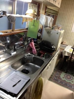 工事前キッチン 2槽式