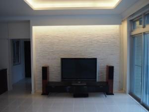 デザインリノベーション アクセントタイル壁と間接照明