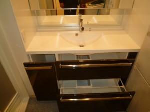 スクエアボウル一体型カウンターの特注製作洗面でシックな空間へ