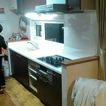 システムキッチンワークトップ+キッチンパネル交換でスッキリ!札幌市