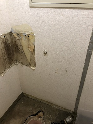 施工中 大便器・タンク撤去