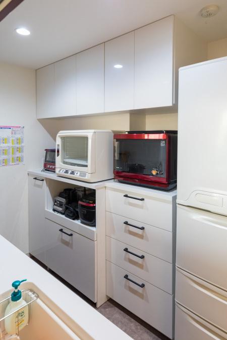 施工後キッチン オーダー食器棚