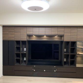 細部までこだわったお客様の理想のオーダー壁面収納棚TVボード付!札幌市マンション