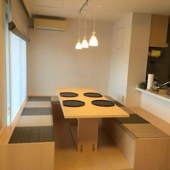 ダイニングに掘りごたつを!用途に合わせてフラットな空間にもなります!札幌市マンション