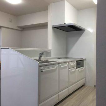 対面壁・袖壁撤去で開放的なオープンキッチンでお洒落な空間へ!札幌市マンション