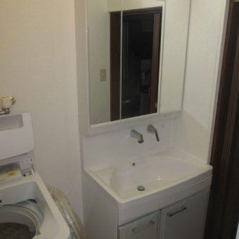 洗面化粧台リフォーム+オープン吊戸棚で収納量アップ!札幌市戸建