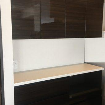 オーダー食器棚新規設置、HAFELEダストボックスワゴン組み込み!札幌市マンション