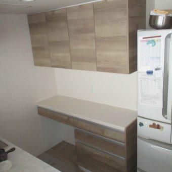 キッチン背面にクリナップ『ステディア』シリーズ食器棚設置施工事例!札幌市マンション