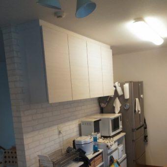 飾り棚撤去、食器棚にオーダー吊戸棚を設置!札幌市戸建