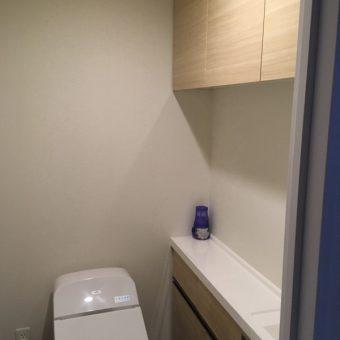 既存のトイレ手洗いカウンターキャビネットと統一したオーダー吊戸棚!札幌市マンション