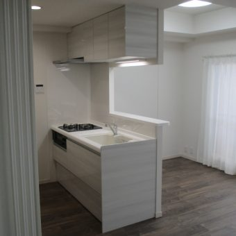 間仕切り造作、L型からI型対面システムキッチンへリフォーム!札幌市マンション