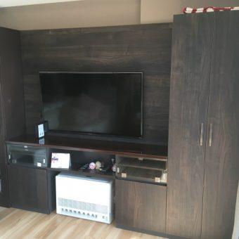既製品本棚と一体感ある、オーダーテレビボード付き壁面収納棚!札幌市マンション