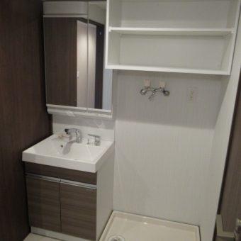 タカラ洗面『リフレシオ』+洗濯機上オーダーオープン吊戸棚!札幌市マンション