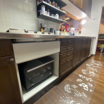 ガスコンロ下部オーブンを、コンロ無しグリル+オーダーキャビネットへ交換!札幌市戸建