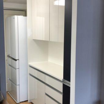 オーダー食器棚設置、加熱機器・ガスキャビネットは加工して既存品を再利用!札幌市マンション